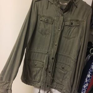 Max jeans army green zip/button hooded jacket!